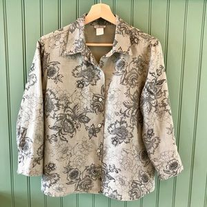 French Toile Boxy Linen Top